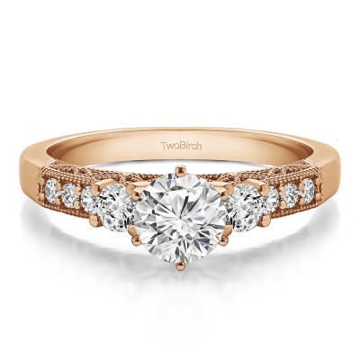 1.24 Ct. Round Three Stone Vintage Engagement Ring with Filigree in Rose Gold