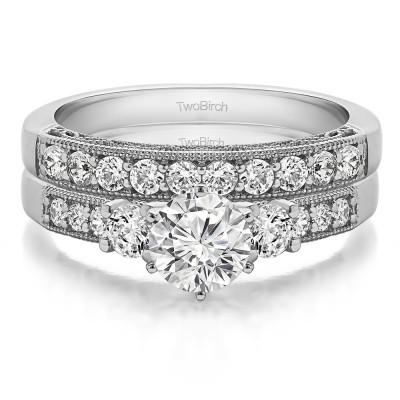 Three Stone Vintage Filigree and Millgrain Engagement Ring Bridal Set (2 Rings) (1.94 Ct. Twt.)