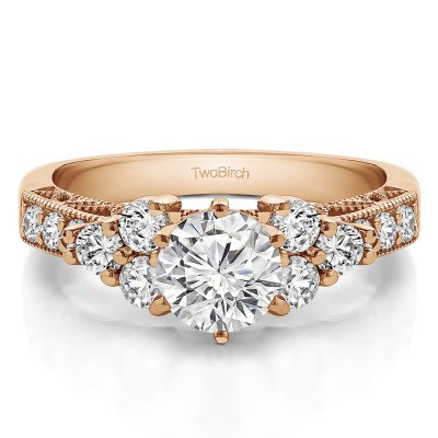 1.71 Ct. Round Three Stone Cluster Engagement Ring with Filigree in Rose Gold
