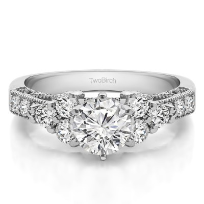 1.71 Ct. Round Three Stone Cluster Engagement Ring with Filigree With Cubic Zirconia Mounted in Sterling Silver (Size 3)