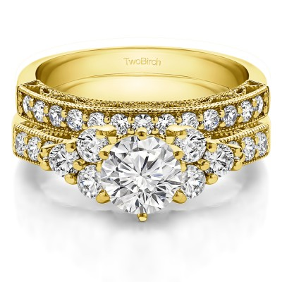 Three Stone Cluster Vintage Engagement Ring Bridal Set (2 Rings) (2.04 Ct. Twt.)