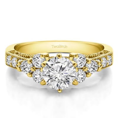 1.71 Ct. Round Three Stone Cluster Engagement Ring with Filigree in Yellow Gold