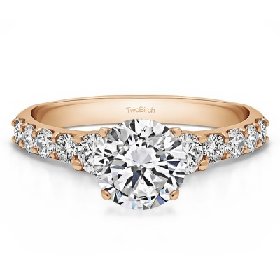 2.38 Ct. Round Shared Prong Set Graduated Engagement Ring in Rose Gold