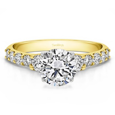 2.38 Ct. Round Shared Prong Set Graduated Engagement Ring in Two Tone Gold