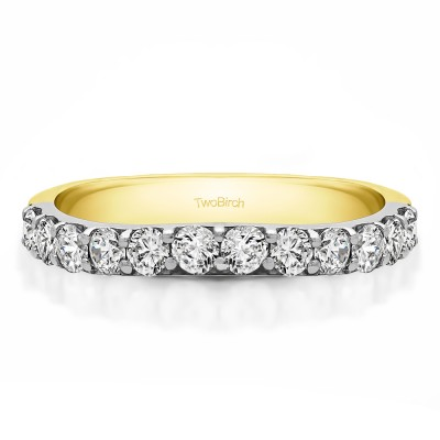 0.84 Carat Shared Prong Matching Wedding Ring