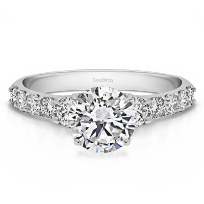 2.38 Ct. Round Shared Prong Set Graduated Engagement Ring