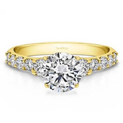 2.38 Ct. Round Shared Prong Set Graduated Engagement Ring in Yellow Gold
