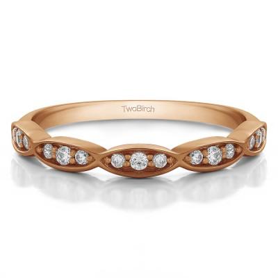 0.1125 Carat Scalloped Design Matching Wedding Ring
