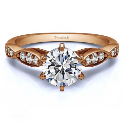 1.21 Ct. Round Stackable Engagement Ring in Rose Gold