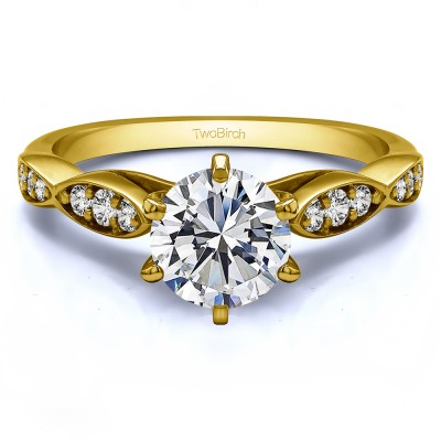 1.21 Ct. Round Stackable Engagement Ring in Yellow Gold