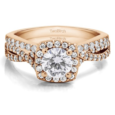 Round Twisted Shank Halo Engagement Ring Bridal Set (2 Rings) (1.69 Ct. Twt.)