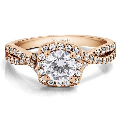 1.25 Ct. Round Halo Twisted Shank Engagement Ring in Rose Gold