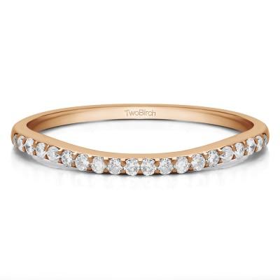 0.21 Carat Low Profile Curved Matching Wedding Ring