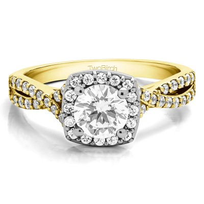 1.25 Ct. Round Halo Twisted Shank Engagement Ring in Two Tone Gold