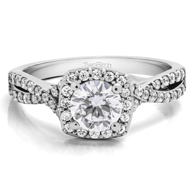 1.25 Ct. Round Halo Twisted Shank Engagement Ring