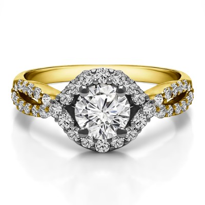1.52 Ct. Round Halo Engagement Ring with Infinity Shank in Two Tone Gold