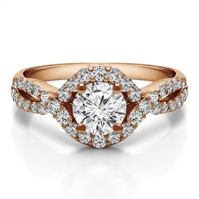 1.52 Ct. Round Halo Engagement Ring with Infinity Shank in Rose Gold