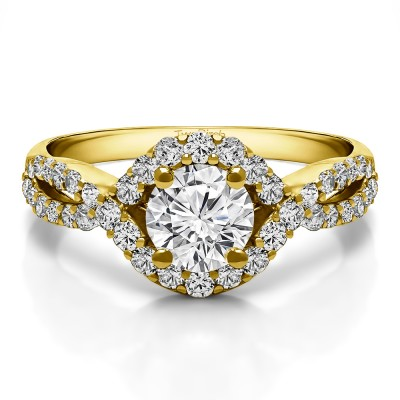 1.52 Ct. Round Halo Engagement Ring with Infinity Shank in Yellow Gold