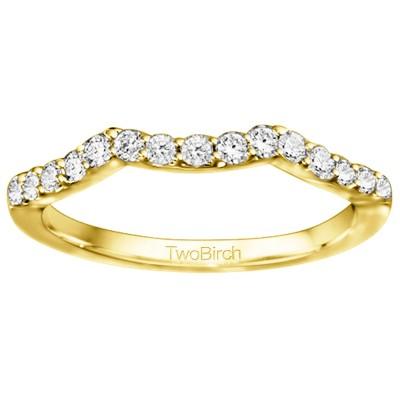 0.3 Carat Scalloped Matching Wedding Ring For Halo Engagement Ring