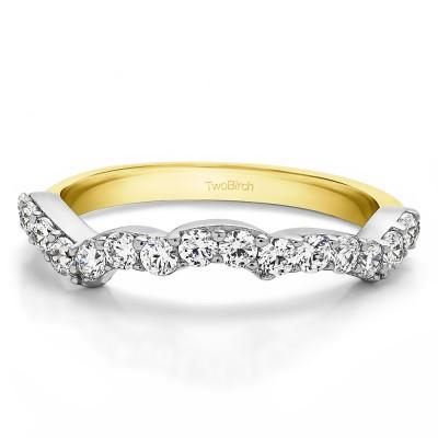 0.48 Carat Scalloped Edge Matching Wedding Band for Halo Engagement Ring