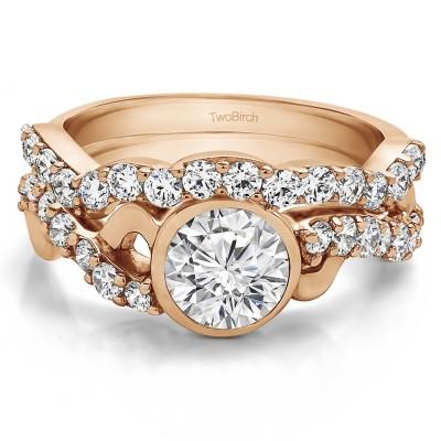 Round Bezel Set Infinity Halo Engagement Ring Bridal Set (2 Rings) (1.89 Ct. Twt.)