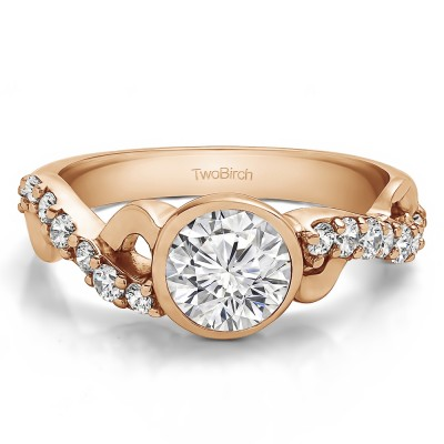 1.41 Ct. Round Bezel Set Engagement Ring with Infinity Shank in Rose Gold