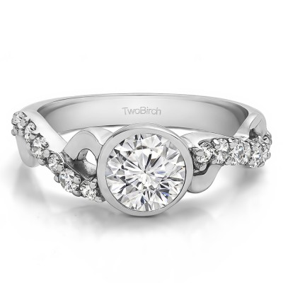 1.41 Ct. Round Bezel Set Engagement Ring with Infinity Shank