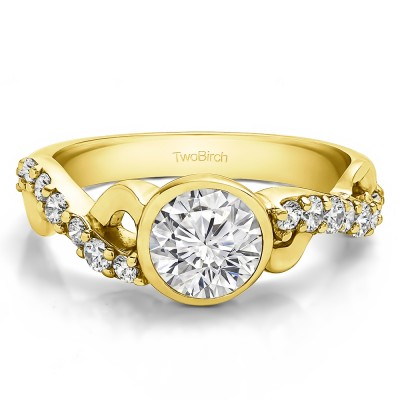 1.41 Ct. Round Bezel Set Engagement Ring with Infinity Shank in Yellow Gold