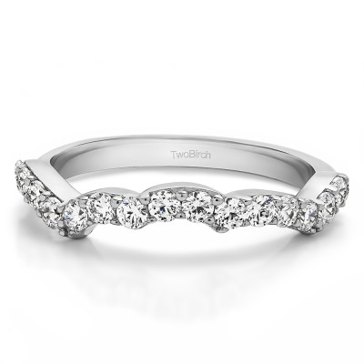 0.48 Carat Scalloped Edge Matching Wedding Band for Halo Engagement Ring