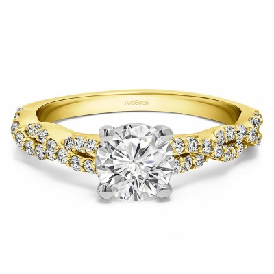 1.46 Ct. Round Four Prong Engagement Ring with Infinity Shank in Two Tone Gold