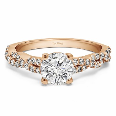 1.46 Ct. Round Four Prong Engagement Ring with Infinity Shank in Rose Gold