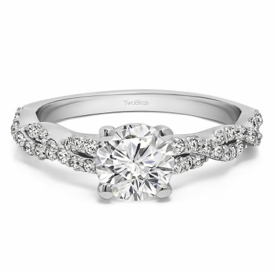 1.46 Ct. Lab Grown Diamond Round Four Prong Engagement Ring with Infinity Shank