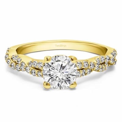 1.46 Ct. Round Four Prong Engagement Ring with Infinity Shank in Yellow Gold