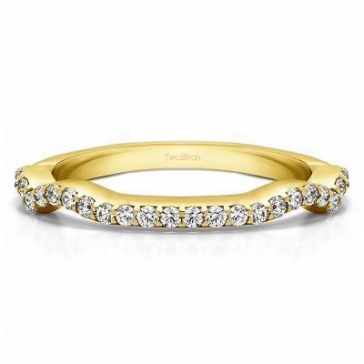 0.29 Carat Scalloped Edge Matching Wedding Ring for Halo Engagement Ring