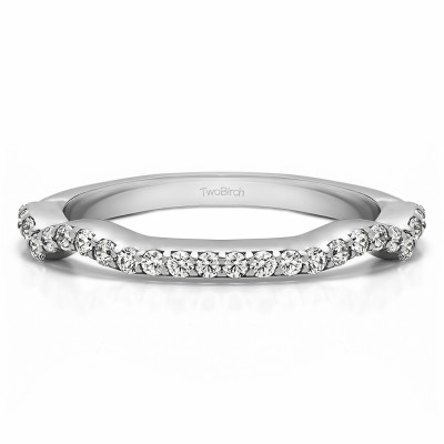0.29 Carat Scalloped Edge Matching Wedding Ring for Halo Engagement Ring