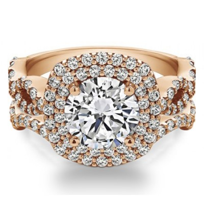 Round Double Halo Infinity Engagement Ring Bridal Set (2 Rings) (3.13 Ct. Twt.)