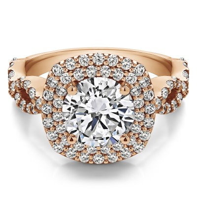 2.82 Ct. Large Double Halo Infinity Engagement Ring in Rose Gold