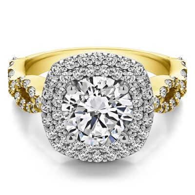 2.82 Ct. Large Double Halo Infinity Engagement Ring in Two Tone Gold