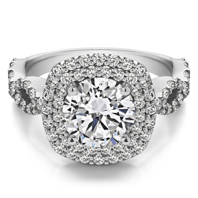 2.82 Ct. Large Double Halo Infinity Engagement Ring