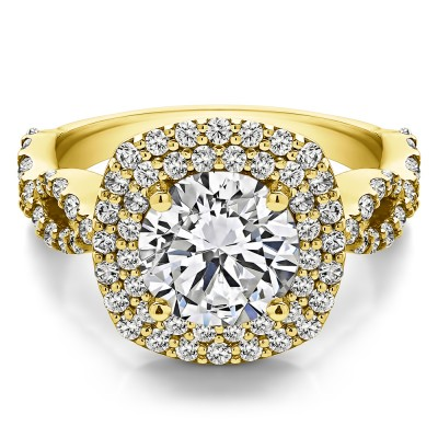 2.82 Ct. Large Double Halo Infinity Engagement Ring in Yellow Gold