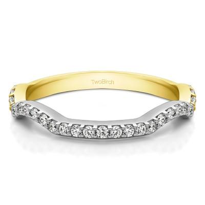 0.31 Carat Scalloped Edge Matching Wedding Ring for Halo Engagement Ring