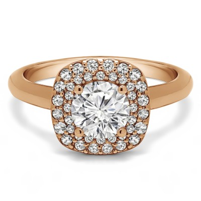 1.3 Ct. Double Row Round Halo Engagement Ring in Rose Gold