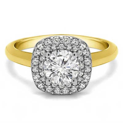 1.3 Ct. Double Row Round Halo Engagement Ring in Two Tone Gold