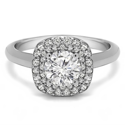 1.3 Ct. Double Row Round Halo Engagement Ring