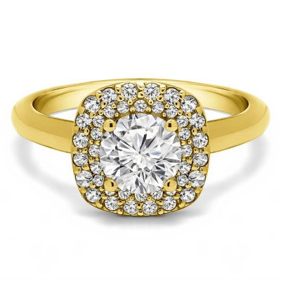 1.3 Ct. Double Row Round Halo Engagement Ring in Yellow Gold