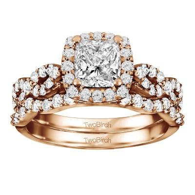 Cushion Cut Infinity Halo Engagement Ring Bridal Set (2 Rings) (2.01 Ct. Twt.)