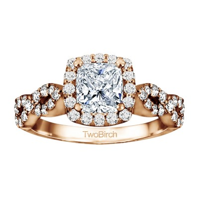 1.69 Ct. Cushion Cut Infinity Halo Engagement Ring in Rose Gold