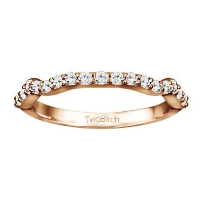 0.315 Carat Scalloped Edge Matching Wedding Ring for Halo Engagement Ring