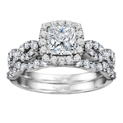Cushion Cut Infinity Halo Engagement Ring Bridal Set (2 Rings) (2.01 Ct. Twt.)