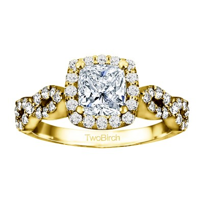1.69 Ct. Cushion Cut Infinity Halo Engagement Ring in Yellow Gold